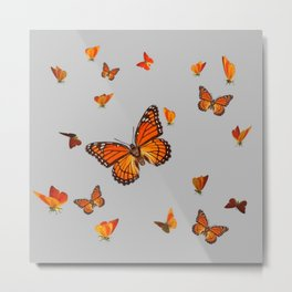 FLOCK OF ORANGE MONARCH BUTTERFLIES ART Metal Print