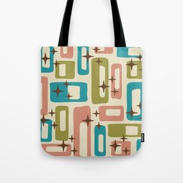 Retro Mid Century Modern Abstract Pattern 623 Olive Blue and Dusty Rose Tote Bag