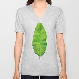 Banana Leaf Watercolor Painting Unisex V-Neck