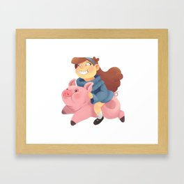 Gravity Falls: Mabel and Waddles Ride! Framed Art Print