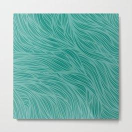 Teal Flow Lines Metal Print