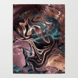 Metallic Rose Gold Marble Swirl Poster