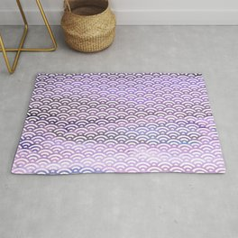 Black/Lavender/Purple/Indigo Watercolor Seigaiha Pattern Rug