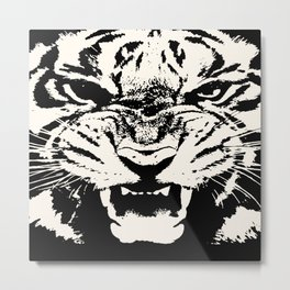 White Tiger Vector Metal Print