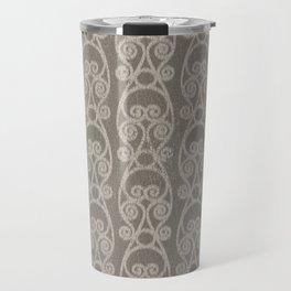 Crackled Scrolled Ikat Pattern - Mocha Tan Travel Mug