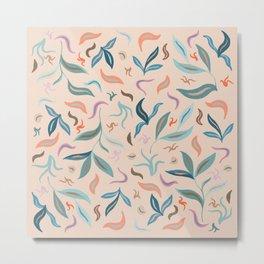 Warm Tone Leaves Pattern Metal Print
