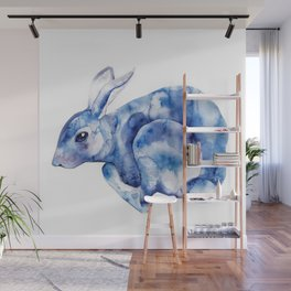 Blue bunny Wall Mural