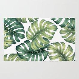 Monstera botanical leaves illustration pattern on white Rug