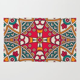 Red Turquoise Pattern Rug