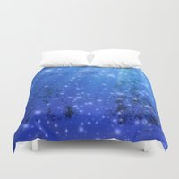silent Duvet Covers featuring Silent Night by Alaskan Momma Bear