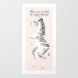 Pink Zebra (Dr. Seuss quote) Right Art Print