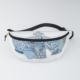 Four 4 Blue and White Ginger Jars  Fanny Pack