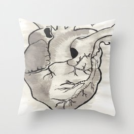 Heart in black and white Throw Pillow