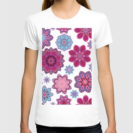 Flower retro pattern. Purple and blue flowers on white background. T-shirt