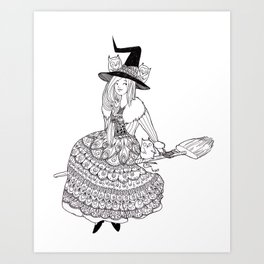 little witch *black and white* Art Print