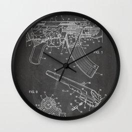 Ak-47 Rifle Patent - Ak-47 Firing Mechanism Art - Black Chalkboard Wall Clock