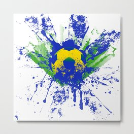 Green, blue, yellow soccer ball Metal Print