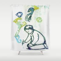 writing Shower Curtains featuring writing by valentina biletta