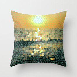 Costa Rica Stained Glass Sunset Throw Pillow