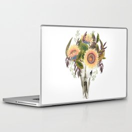 Bohemian bull skull with flowers Laptop & iPad Skin