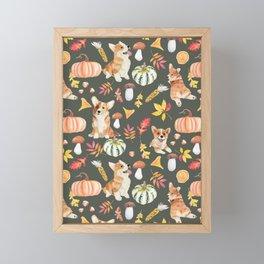Welsh Corgi Dog Breed Fall Party -Cute Corgis Celebrate Autumn With Pumpkins Mushrooms Leaves - Oliv Green Framed Mini Art Print