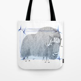 Muskox Ice Age Stippling and Pencil Crayons Drawing Tote Bag