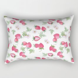 Watercolor . Strawberry on a White background . Rectangular Pillow