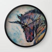 unicorn Wall Clocks featuring Dark Unicorn by Michael Creese