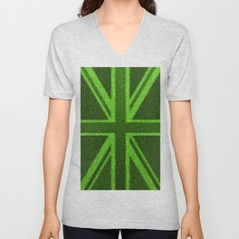 Grass Britain / 3D render of British flag grown from grass Unisex V-Neck