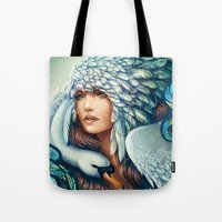 swan queen Tote Bags featuring Swan by Bea González