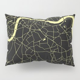 London Black on Yellow Street Map Pillow Sham