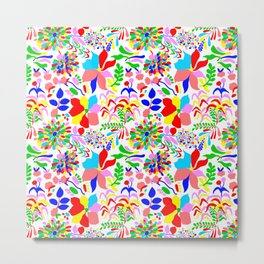 60's Fiesta Floral in White Metal Print