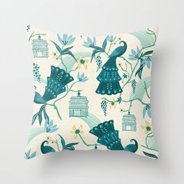 Aviary - Cream Throw Pillow