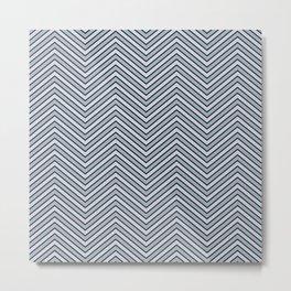 Black Pinstripe Slate and Lavender Chevron Metal Print