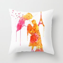 Watercolor Love Couple in Paris Throw Pillow