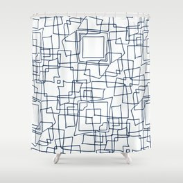 Decorative blue and white abstract squares Shower Curtain