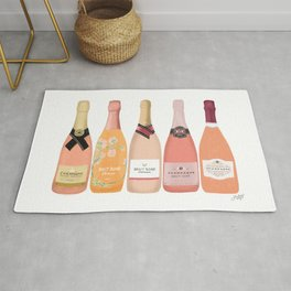Rose Champagne Bottles Rug
