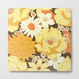Yellow, Orange and Brown Vintage Floral Pattern Metal Print