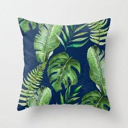 Tropical Leaves Banana Palm Tree Throw Pillow