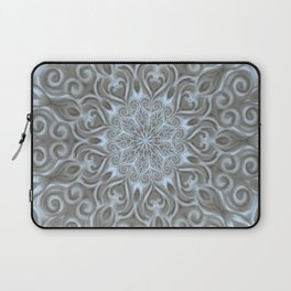 Light Blue Center Swirl Mandala Laptop Sleeve
