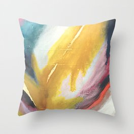 Ambition: a colorful abstract piece in bold yellow, blue, pink, red, and gold Throw Pillow