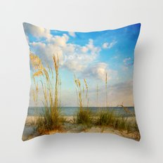 Sea Oats along the Beach Throw Pillow