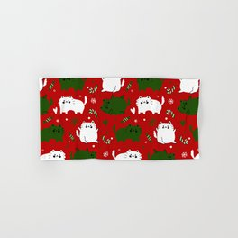 Christmas Cats and Candy Canes (Red) Hand & Bath Towel