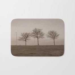 Naked trees during a foggy morning - Cove Bay, Aberdeen, Scotland Bath Mat