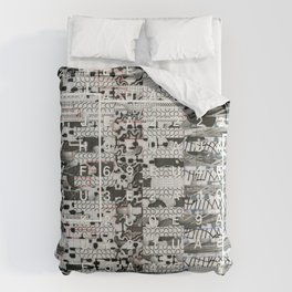 Crossing the Threshold of Sticky Potential (P/D3 Glitch Collage Studies) Comforters