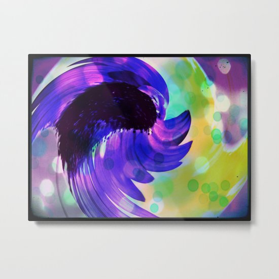 Purple Sunflower Swirl Metal Print