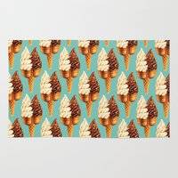 novelty Area & Throw Rugs featuring Ice Cream Pattern - Teal by Kelly Gilleran