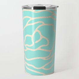 Flower in White Gold Sands on Tropical Sea Blue Travel Mug