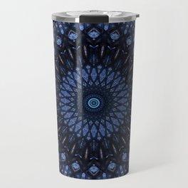 Dark and light blue mandala Travel Mug