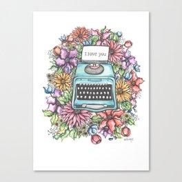 Vintage Typewriter- Watercolor Canvas Print
